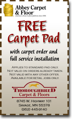 Free Carpet Pad with carpet order and full service installation.